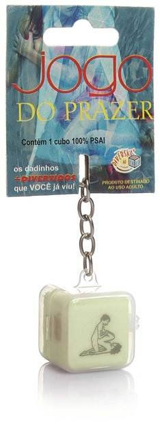 Dado jogo do prazer hétero chaveiro que brilha no escuro - embalagem com 1 unidade