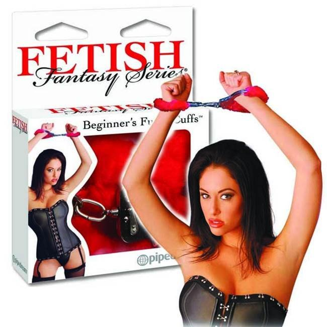 Algemas de metal com forro de pelúcia - beginners furry cuffs red