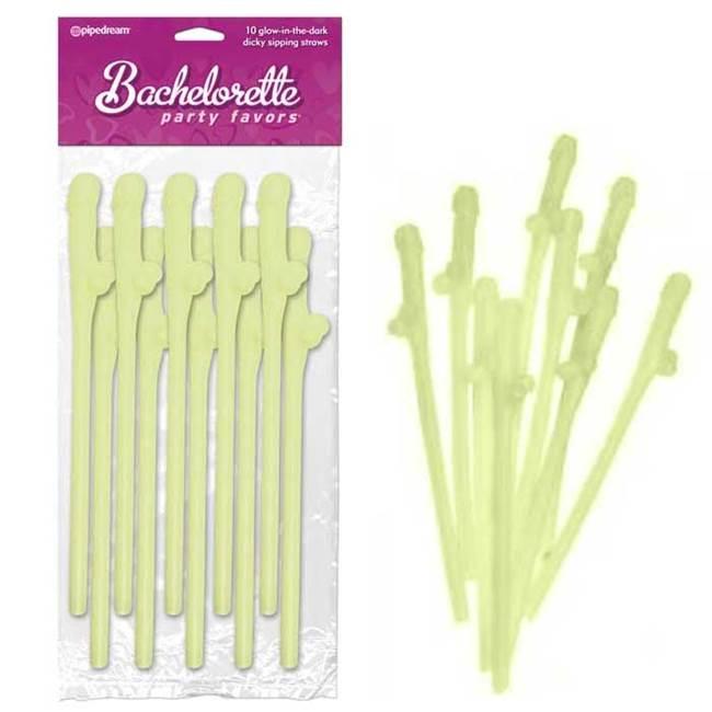 Canudos com formato de pênis fosforescentes - dicky slipping straws
