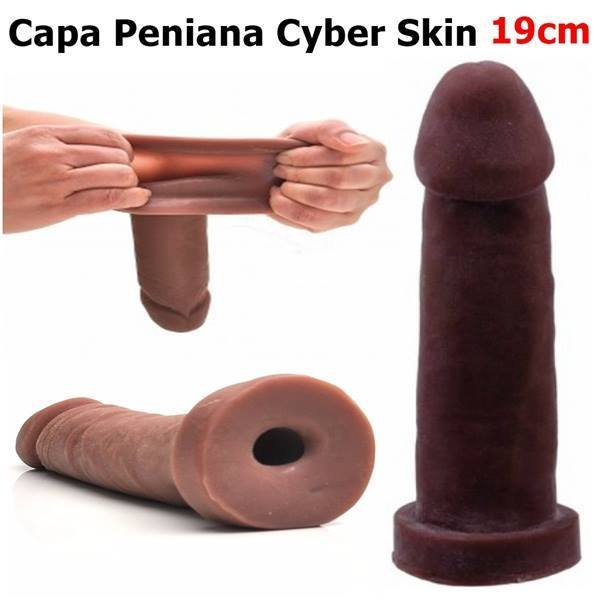 Capa peniana cyber skin 19x4.5cm - cor chocolate