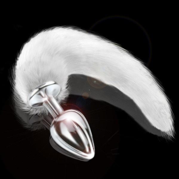Plug anal cor prata com cauda branca