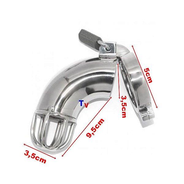 Cinto de castidade masculino - modelo tubo - tamanho grande (anel escrotal 5cm)