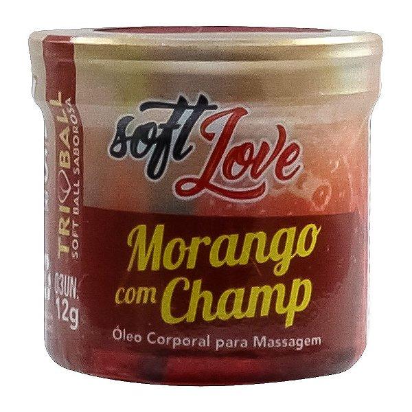 Bolinha do sexo - comestível Morango c/ Champagne HOT (função de aquecimento)