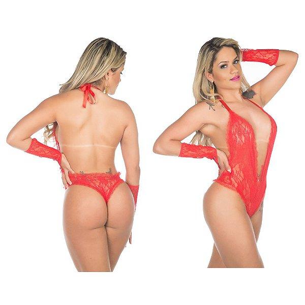 Body fashion lingerie sensual sexy - cor vermelha
