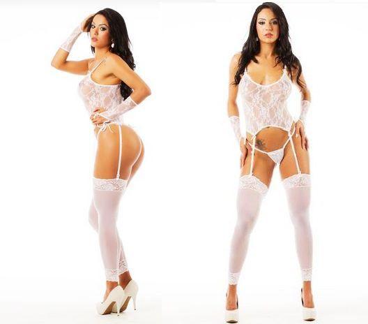 Camisete liga sensual rendado branco