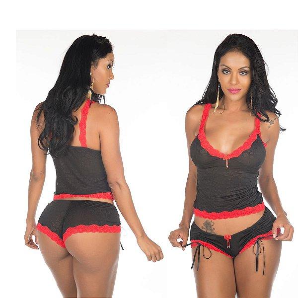 Conjunto sex fascínio vermelho preta