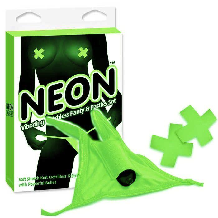 Pipedream Neon Vibrating Crotchless Panty And Pasties Set - Calcinha com Cápsula Vibratória com abertura íntima