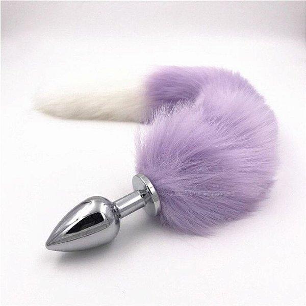 Plug Anal Rabo de Raposa com cauda de 48 cm - cor: Roxo e Branco