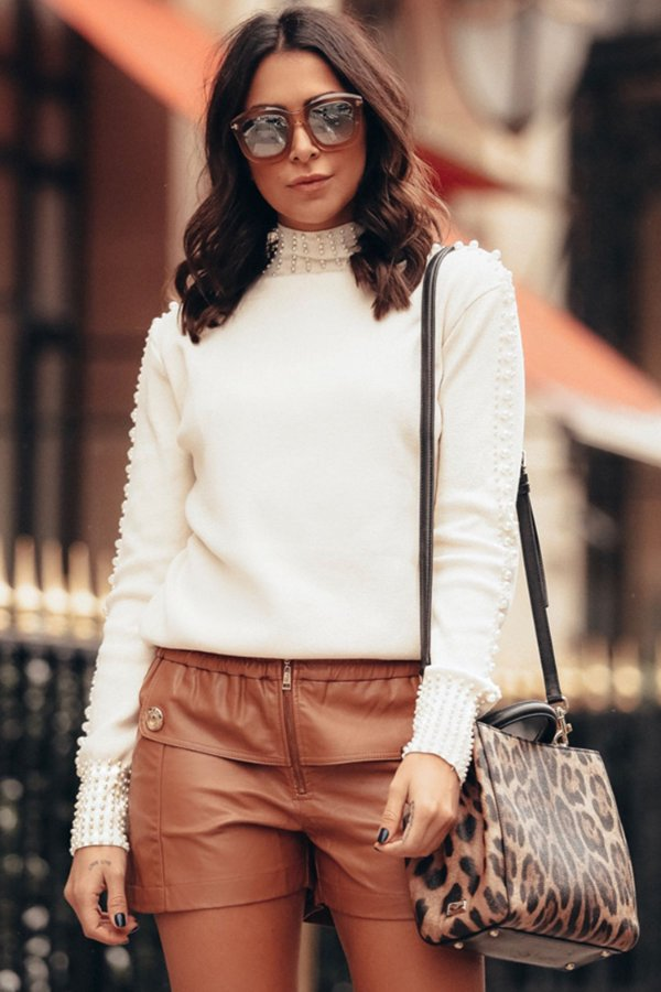 ESPECIAL SALE | Shorts Exclusive Fake Botões Frontal Caramelo