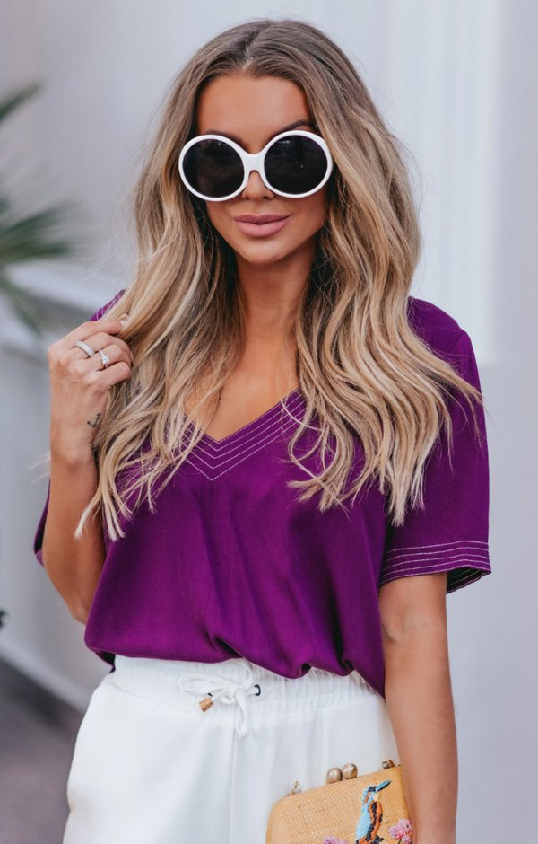 SPRING PREVIEW | Blusa Púrpura Decote V
