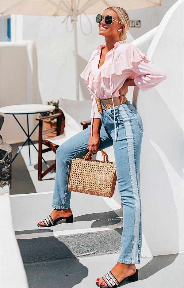 SANTORINI   Calça Jeans Faixa Lateral