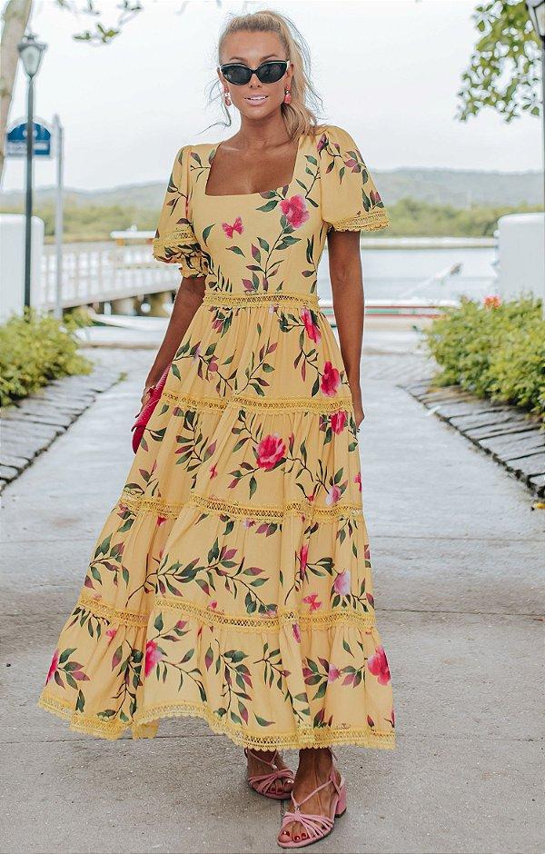 OCEAN VIEWS | Vestido Midi Búzios Amareo Mangas Bufantes