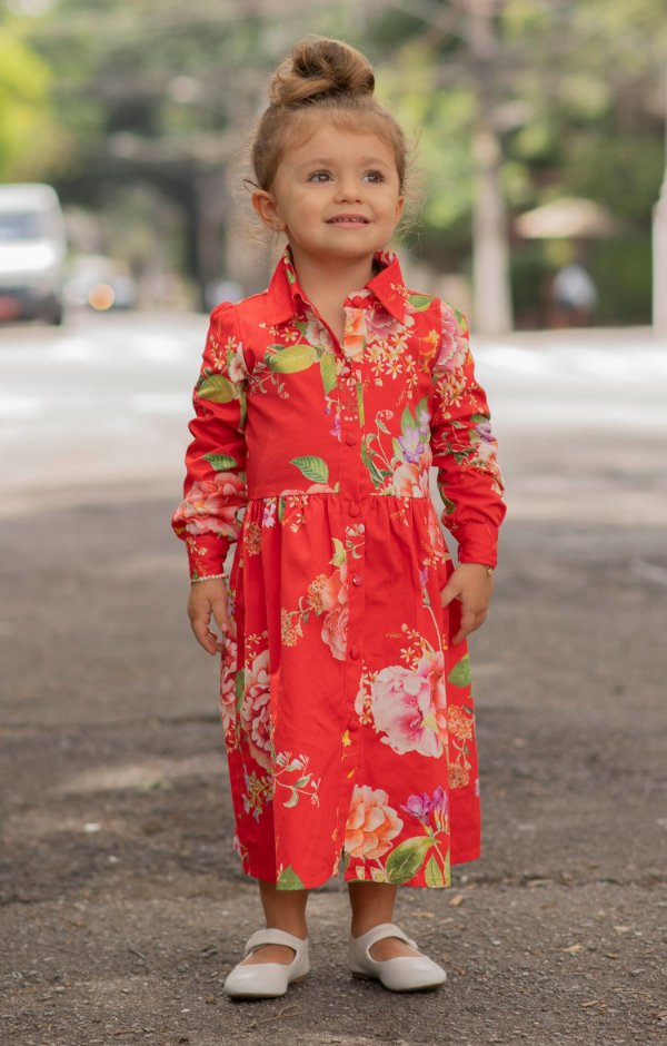 NYC COLLECTION   Vestido Blessinha Magnolia Floral Red