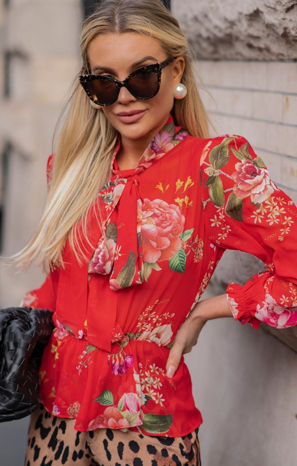 NYC COLLECTION | Blusa Magnolia Floral Red