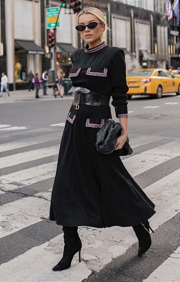 NYC COLLECTION   Vestido Detalhe Xadrez Taylor