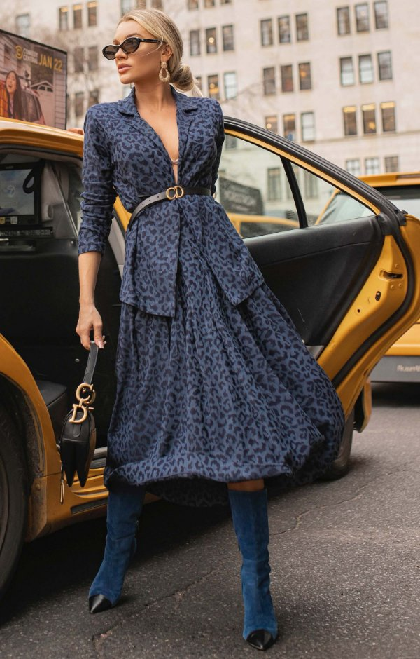 NYC COLLECTION | Saia Midi Blue Jaguar