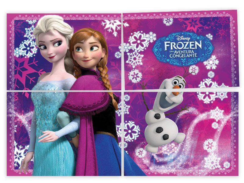 Painel 4 Folhas Decorativo Frozen