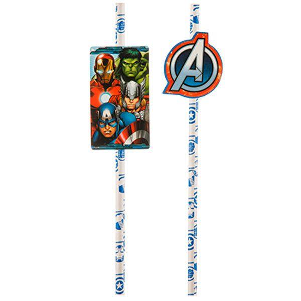 Canudo de Papel - Os Vingadores Animated - 08 unidades