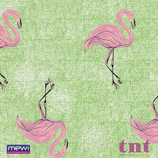 TNT Estampado - Flamingo fundo Verde - 05 Metros