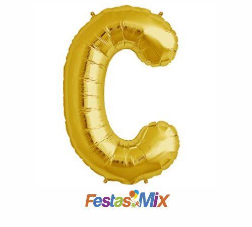 Balão Metalizado 40 cm - Dourado - Letra C