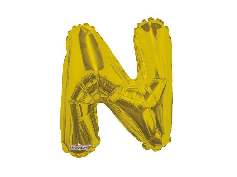 Balão Metalizado 22 cm - Dourado - Letra N