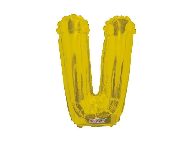 Balão Metalizada 27 cm - Dourada - Letra V