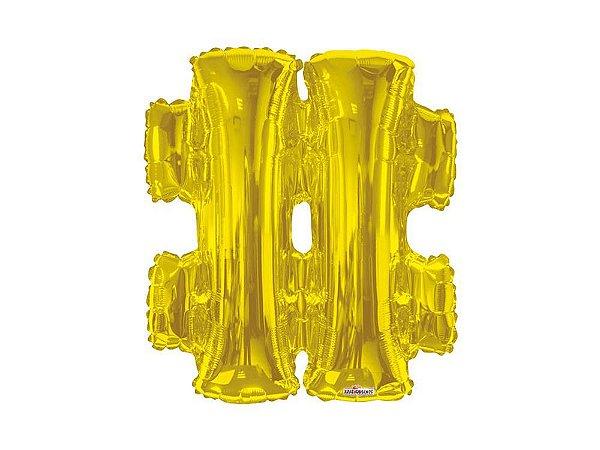 balão metalizado 27 cm - Dourado - Hastag