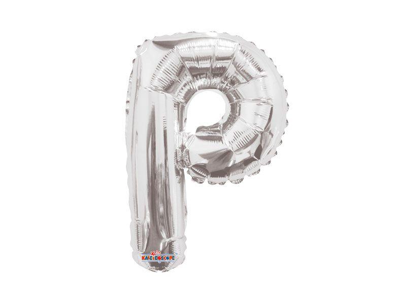 Balão Metalizado  22 cm - Prateado - Letra P