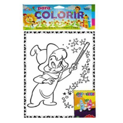 Kit com 10 Livros para Colorir Grande - 10 Desenhos + Giz de cera