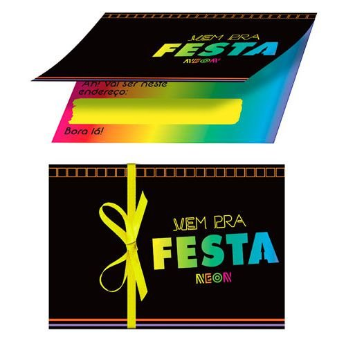 Convite Aniversário Festa Neon Party - 08 und