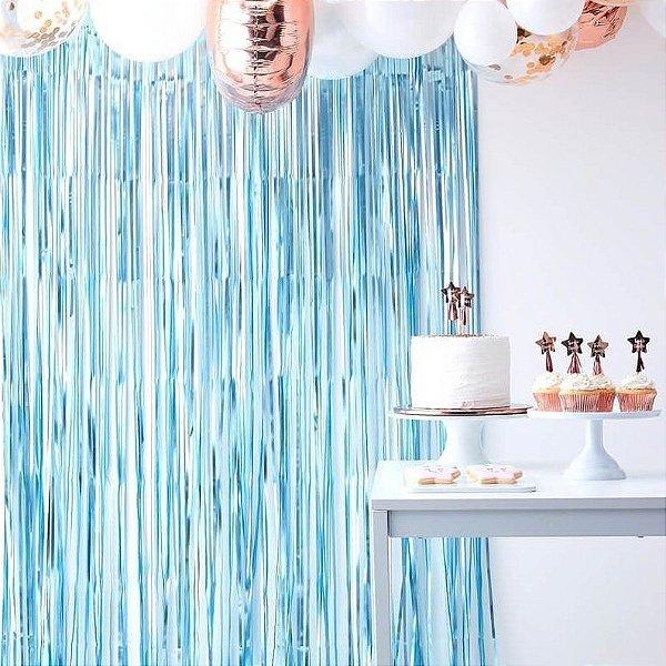 Cortina Metalizada para Festa - Azul Claro Candy