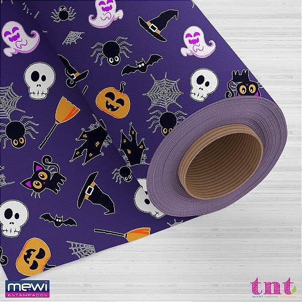 TNT Estampado - Happy Halloween Roxo - 05 Metros
