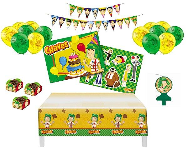 Kit Decoração de  Festa - Chaves - Painel Toalha Faixa Vela Forminhas Balões