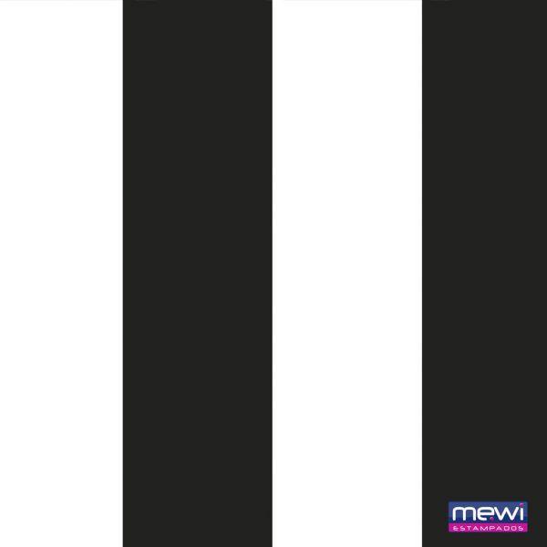 Tnt Estampado - Time Preto Branco - 3 metros