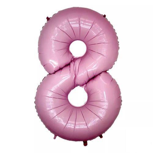 Balão Metalizado 40cm - Rosa Claro - Número 8