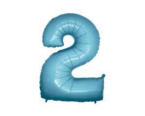 Balão Metalizado 40cm - Azul Claro - Número 2