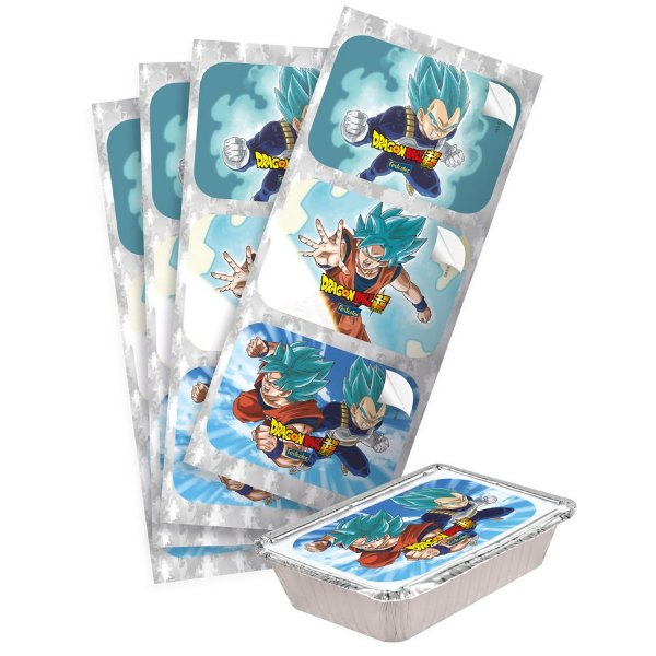 Adesivo Retangular Festa Dragon Ball - 12 unidades