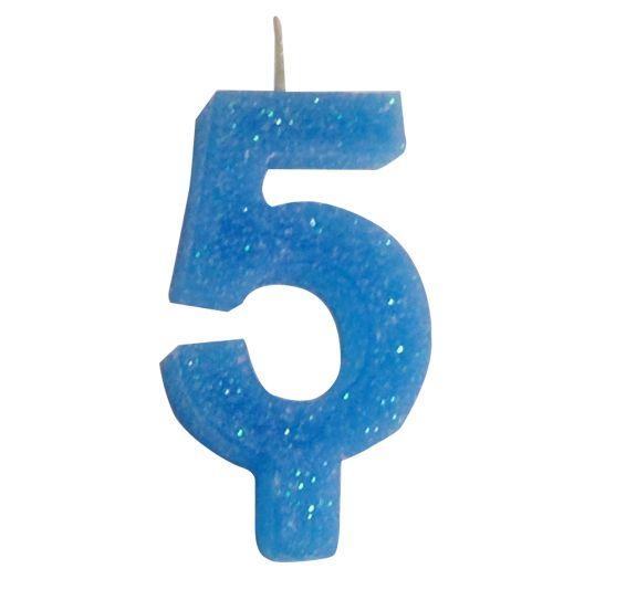 Vela Numeral Glitter - Azul  Nº 5