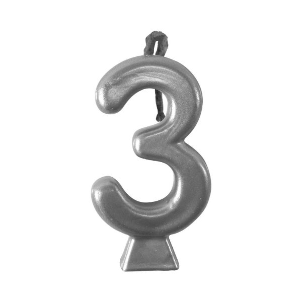 Vela Numeral Metalic - Prata Nº 3