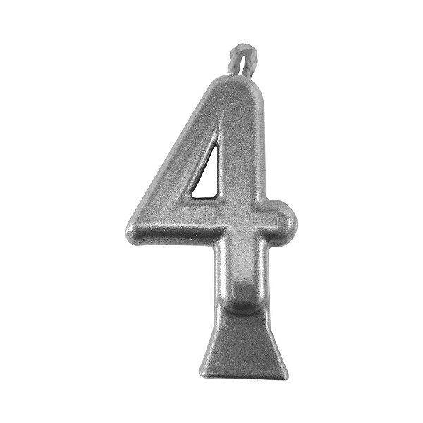 Vela Numeral Metalic - Prata Nº 4