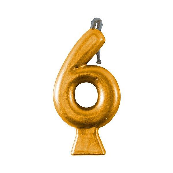 Vela Numeral Metalic - Dourada  Nº 6