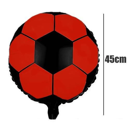 Balão Metalizado Futebol  Preto e Vermelho- 45 cm