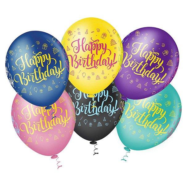 Balão N° 10- Happy Birthday - 25 unidades