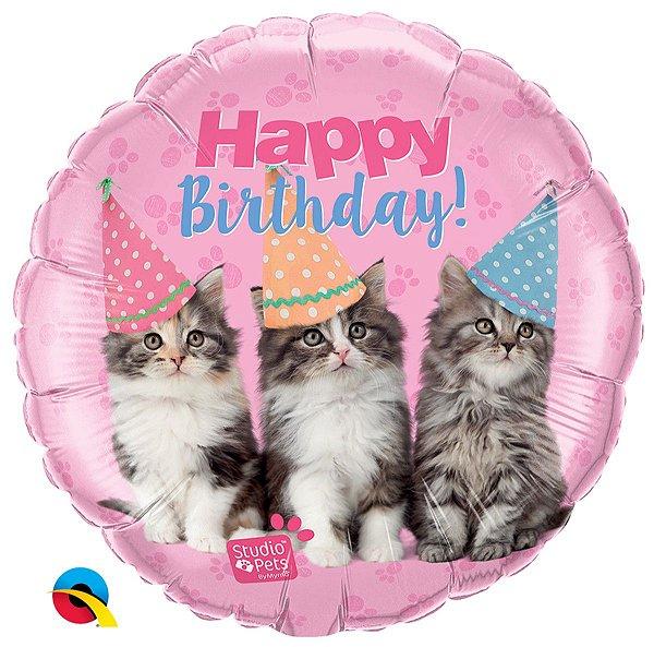 Balão Metalizado  Pets - Gatos - Happy Birthaday- 18 Polegadas