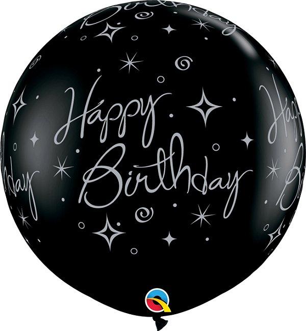Balão Latex Redondo 3 Pés - Happy Birthday - Preto Onix