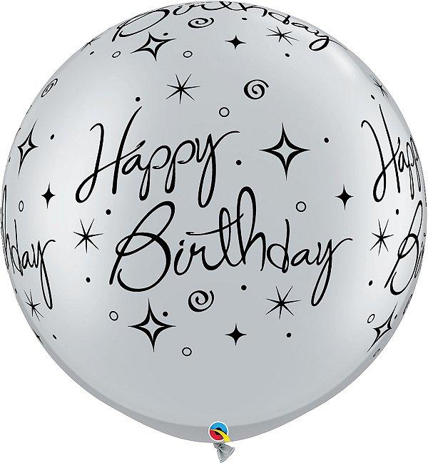 Balão Latex Redondo 3 Pés - Happy Birthday - Cinza Onix