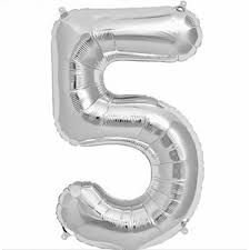 Balão Metalizado Numero 5 Prata - 70 cm