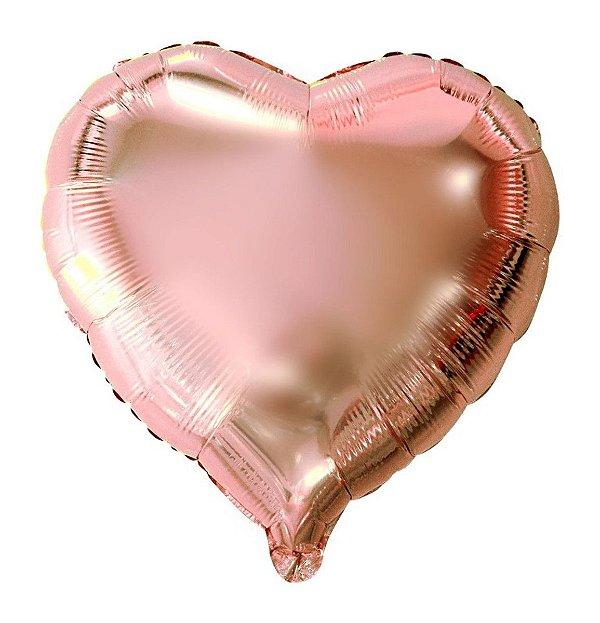 Balão Metalizado  - Coração Rose Gold - 45m
