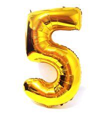 Balão Metalizado Numero 5 - Dourado 100cm