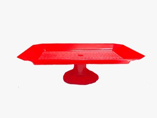 Bandeja Retangular Texturizada Com Pé - Vermelha